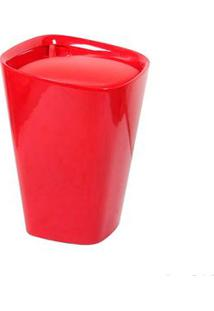 Banco De Plástico Estofado 50Cm Vermelho Coisas E Coisinhas