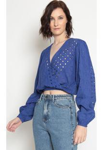 Blusa Cropped Com Recortes- Azulla Chocolãª