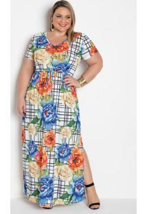 Vestido Longo Floral Grid Plus Size