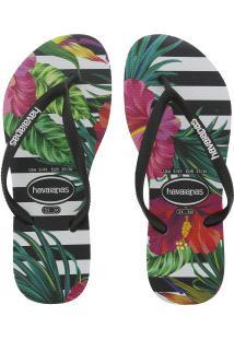 d4a5310681 ... Chinelo Havaianas Slim Tropical Floral - Feminino - Preto Branco