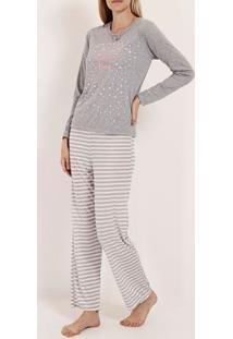 Pijama Longo Feminino Cinza/Bege