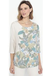 Blusa Floral Com Recortes- Bege & Verde- Cotton Colocotton Colors Extra
