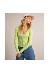 Cardigan Cropped Canelado Decote V Verde