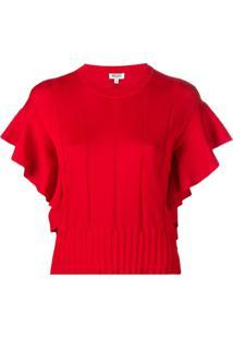 Kenzo Ruffle-Trimmed Knitted Top - Vermelho