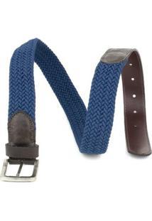 Cinto Milano Elástico Masculino - Masculino-Marrom+Azul
