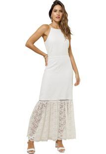 Vestido Mx Fashion Longo De Renda Lorian Off White