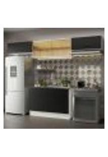 Cozinha Compacta Madesa Agata 280001 Com Armário E Balcão - Branco/Preto
