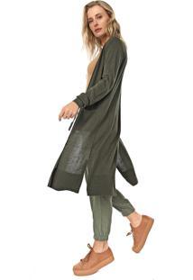 Maxi Cardigan Seda Banana Republic Tricot Silk Cotton Long Duster Verde