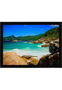 Capacho - Tapete Colours Creative Photo Decor - Praia Com Ondas Em Angra Dos Reis, Rj Azul