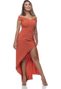 Vestido Longo Clara Arruda Ombro Ombro 50436 Coral