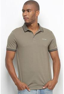 Camisa Polo Calvin Klein Básica Masculina - Masculino-Verde Militar
