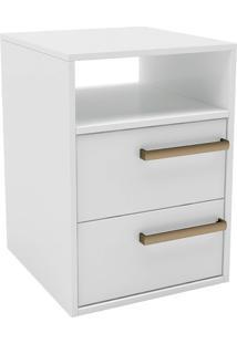 Mesa De Cabeceira Com 2 Gavetas C/ Puxador De Alça Originale-Belmax - Branco