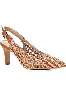 Scarpin Shoestock Salto Alto Macramê - Feminino-Caramelo