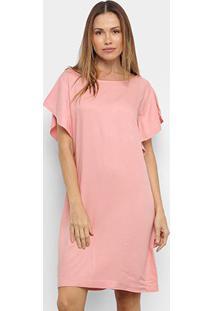 Vestido Mercatto Curto Liso - Feminino-Rosa Claro