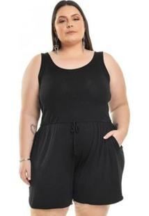 Macacão Miss Masy Plus Plus Size Básico Feminino - Feminino-Preto
