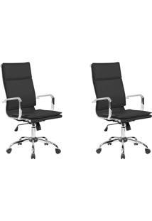 Conjunto Com 2 Cadeiras De Escritório Presidente Giratórias Eames Comfort Preto