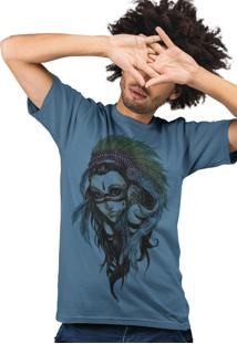 Camiseta Artseries India Cocar Azul