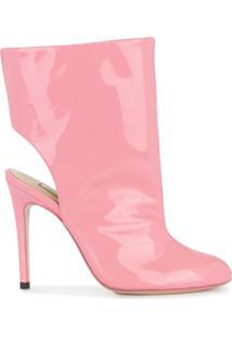 Natasha Zinko Ankle Boot De Couro Com Recorte - Rosa