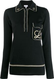 Loewe Camisa Polo Com Bordado - Preto