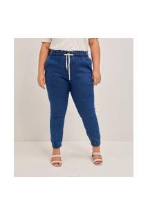 Calça Jogger Jeans Lisa Com Amarração Curve & Plus Size | Ashua Curve E Plus Size | Azul | 46