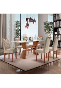 Conjunto De Mesa De Jantar Com 6 Cadeiras Oxford Jacquard Ll Off White E Bege