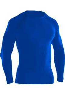 Blusa Térmica Ayron Fitness Segunda Pele Azul Lisa