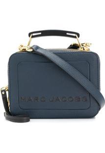 Marc Jacobs Bolsa Box Transversal Com Logo - Azul