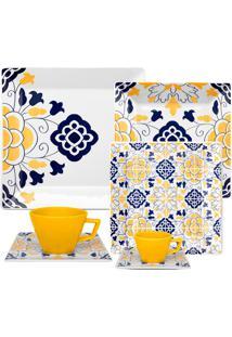 Aparelho De Jantar Quartier Sevilha 42 Peças - Oxford - Azul / Amarelo