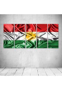 Quadro Decorativo - Kurdistan Kurd Kurds Kurdish Flag - Composto De 5 Quadros