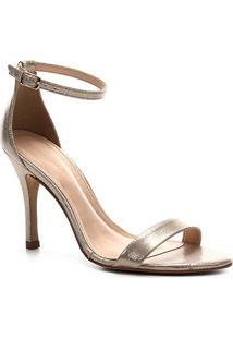 Sandália Shoestock Salto Alto Glitter Feminina - Feminino-Ouro