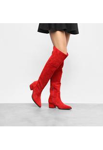 Bota Couro Over The Knee Luiza Barcelos Salto Baixo Bico Fino Feminina - Feminino-Vermelho