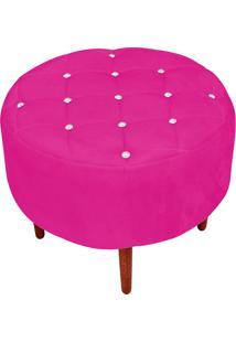 Puff Decorativo Com Strass Esmeralda Suede Pink Pés Palito - D'Rossi