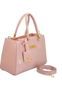 Bolsa Handbag Verniz Croco De Mão Com Zíper Grande Feminina - Feminino-Rosa