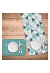 Jogo Americano Com Caminho De Mesa Wevans Green Triangle Kit Com 2 Pçs + 2 Trilhos
