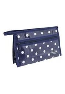 Necessaire Envelope Bolinha Azul Escuro Jacki Design
