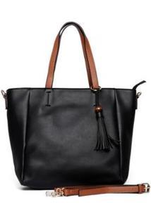 Bolsa Nice Bag Tote Ombro Transversal Tassel Feminina - Feminino-Preto