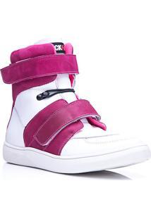 Tênis Masculino Rockfit Van Halen Em Couro Branco E Pink