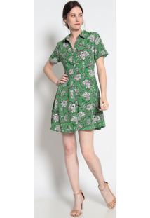 Vestido Com Botões- Verde & Branco- Le Fixle Fix