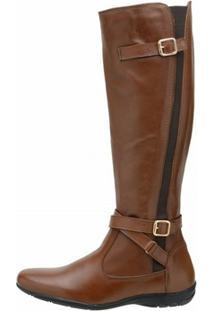 Bota Atron Shoes Montaria - Feminino-Marrom Claro