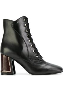 Marni Ankle Boot Com Cadarço - Preto