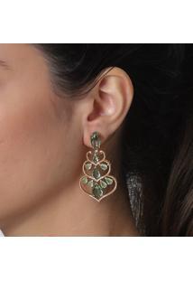 Brinco Rosa Pinhal Estilo Indiano Aros Com Zircã´Nias E Gotas Cristais Verdes - Dourado - Feminino - Dafiti