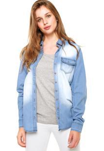 Camisa Jeans Malwee Estonada Azul