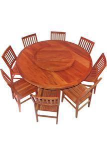 Conjunto Mesa De Jantar Redonda Em Madeira De Demolição 1,60M + 8 Cadeiras Gaucha - Cia Bistrô