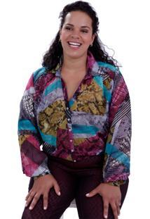 Camisa Liliana Estampada Plus Size Vickttoria Vick Plus Size Cinza
