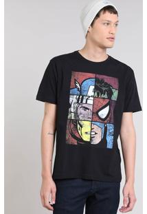 Camiseta Masculina Tal Pai Tal Filho Os Vingadores Manga Curta Gola Careca Preta