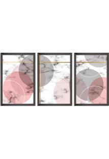 Quadro 60X120Cm Abstrato Escandinavo Coloridos Geométrico Triangulos Moldura Preta Sem Vidro - Mod: Oh5702