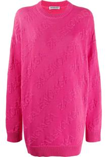 Balenciaga Suéter Decote Careca Texturizado Com Logo - Rosa