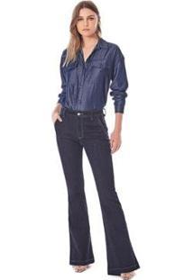 Calça Iódice Flare Cós Alto Bolso Faca Jeans Feminina - Feminino