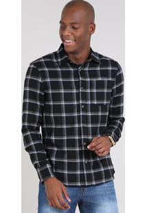Camisa Masculina Comfort Estampada Xadrez Em Flanela Manga Longa Preta