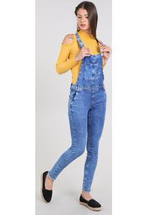 Macacão Jeans Feminino Skinny Com Bolsos Azul Médio